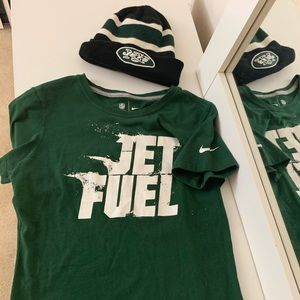 NY Jets NFL beanie and Nike Tshirt